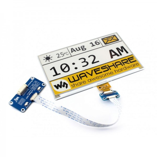 Waveshare 7.5 Inch 3-color E-Ink Display HAT for Raspberry Pi (yellow/black/white)