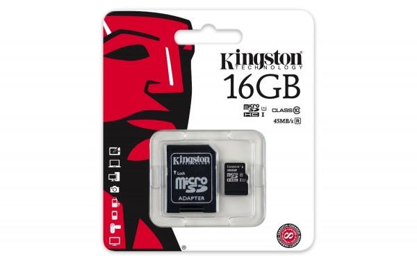Kingston 16 GB Micro-SDHC Class10 Speicherkarte