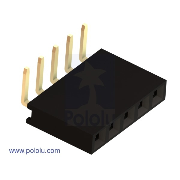 """0.100"""" (2.54 mm) Female Header: 1x5-Pin, Right-Angle (x10)"""