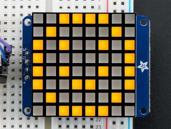 "Adafruit Small 1.2"" 8x8 Ultra Bright Square Yellow LED Matrix + Backpack"