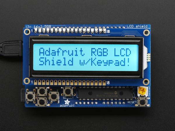 Adafruit RGB LCD Shield Kit w/ 16x2 Character Display - Only 2 pins used! - POSITIVE DISPLAY