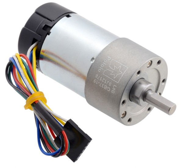 19:1 Metal Gearmotor 37Dx68L mm 24V with 64 CPR Encoder (Helical Pinion)