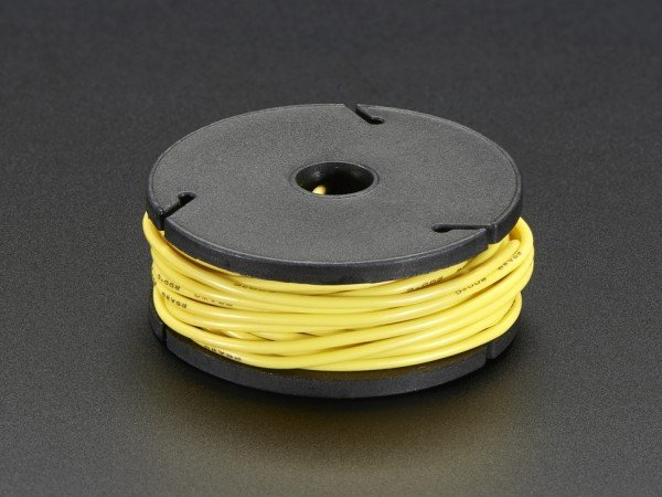 Silicone Cover Stranded-Core Wire - 25ft 7.62m 26AWG - Yellow