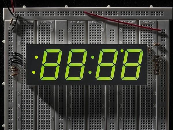"Green 7-segment clock display - 1.2"" digit height"