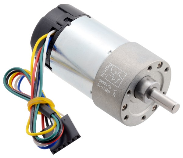 10:1 Metal Gearmotor 37Dx65L mm 24V with 64 CPR Encoder (Helical Pinion)