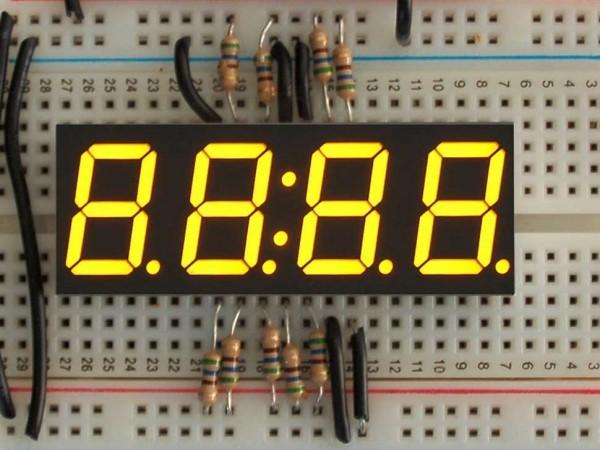 """Yellow 7-segment clock display - 0.56"""" digit height"""