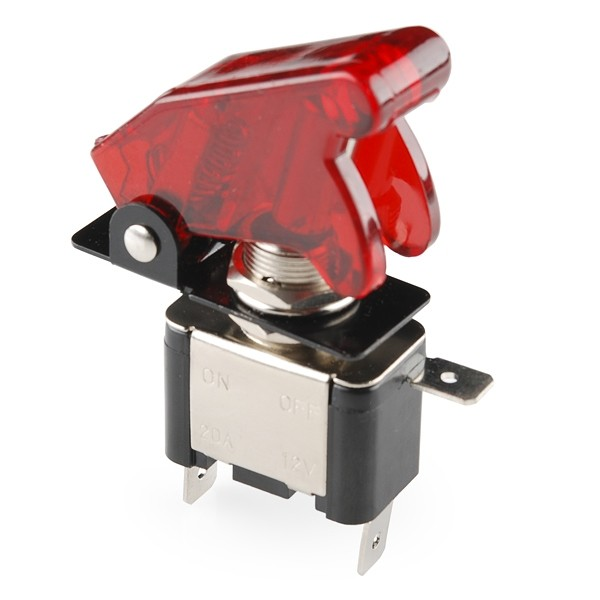Toggle Switch and Cover - Illuminated (Red) COM-11310