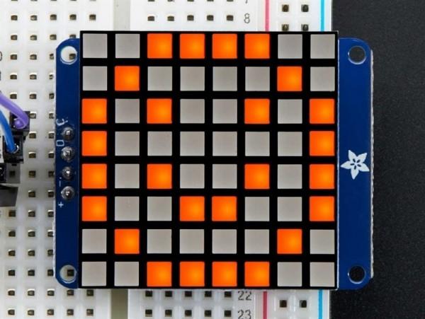 "Adafruit Small 1.2"" 8x8 Ultra Bright Square Amber LED Matrix + Backpack"