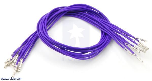 Wires w/ Pre-Crimped Terminals F-F 30cm Purple x10