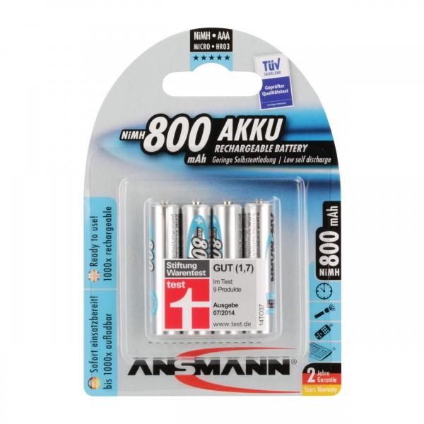 ANSMANN maxE NiMH-Akku, sofort einsatzbereit, Micro (AAA), 800 mAh, VE: 4