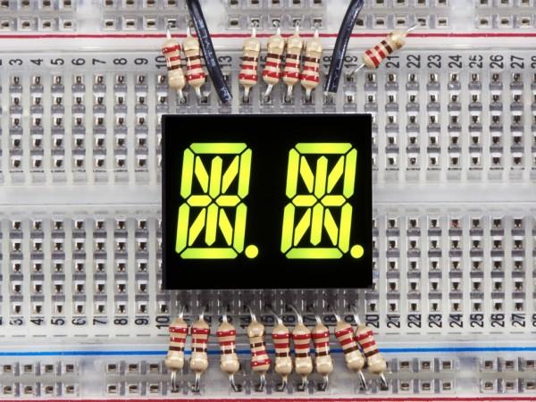 "Dual Alphanumeric Display - Yellow-Green 0.54"" - Pack of 2"
