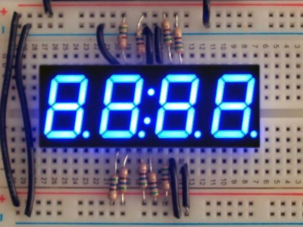 "Blue 7-segment clock display - 0.56"" digit height"