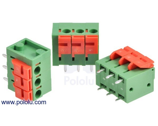 Screwless Terminal Block: 3-Pin, 5.08 mm Pitch, Top Entry (3-Pack)