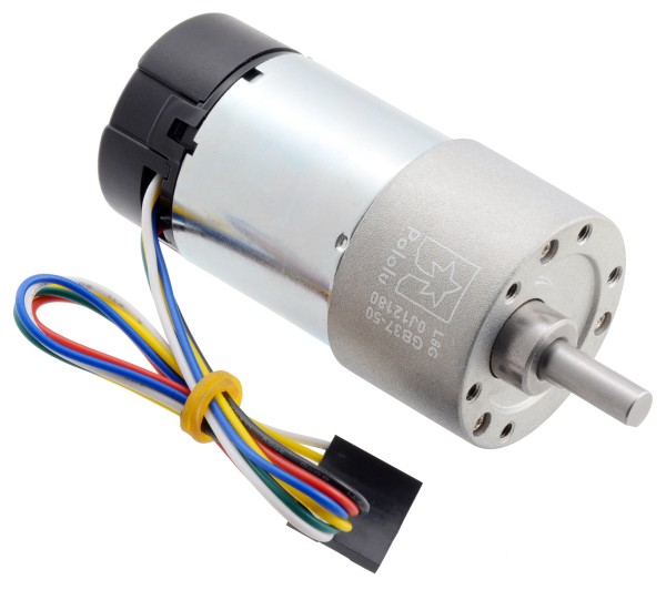 50:1 Metal Gearmotor 37Dx70L mm 24V with 64 CPR Encoder (Helical Pinion)