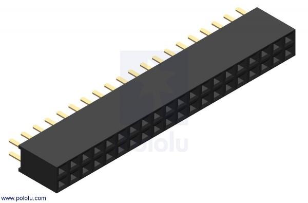 "0.100"" (2.54 mm) Female Header: 2x20-Pin, Straight"