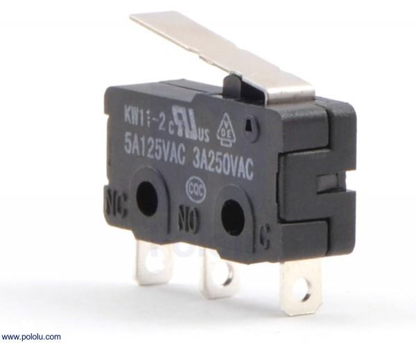 Schnappschalter mit 16.7 mm Hebel: 3-polig, SPDT, 5A