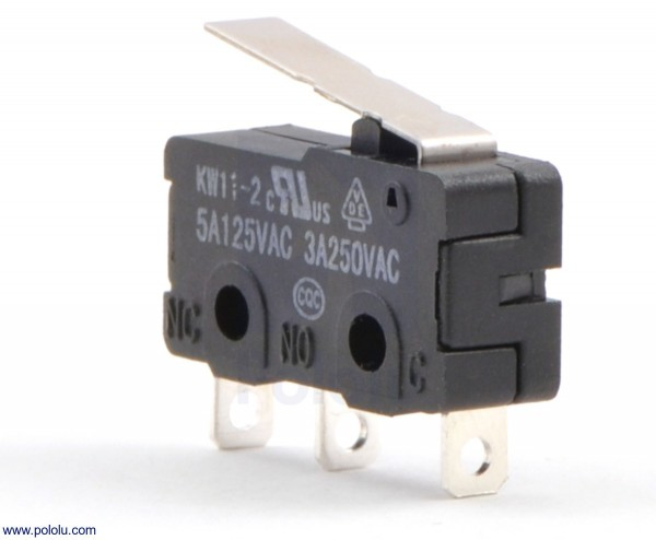 Snap-Action Switch with 16.7mm Lever: 3-Pin, SPDT, 5A