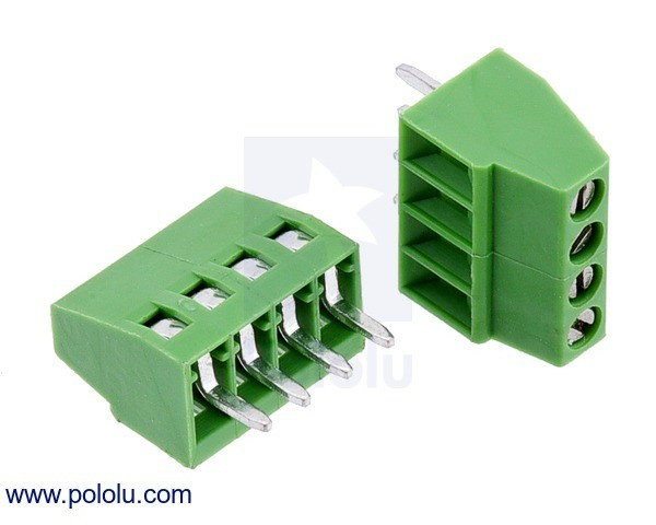 Screw Terminal Block: 4-Pin, 2.54mm Pitch, Side Entry (2-Pack)
