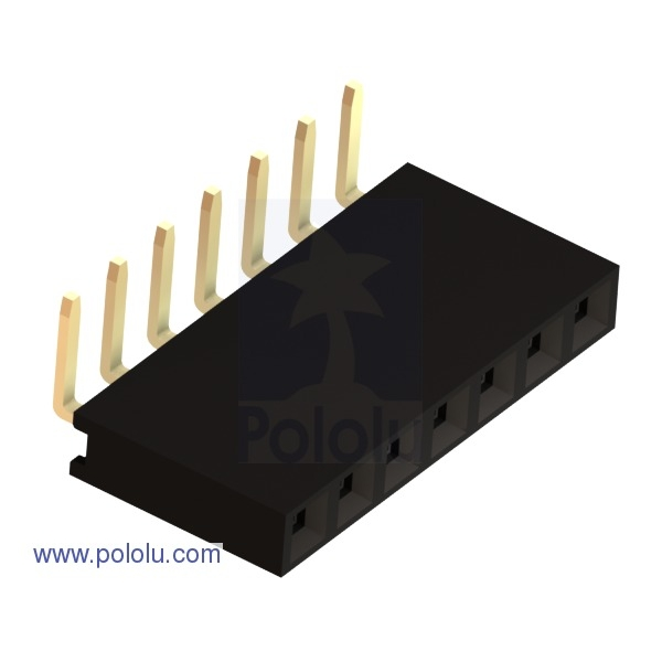 """0.100"""" (2.54 mm) Female Header: 1x7-Pin, Right-Angle"""