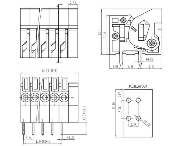 Screwless Terminal Block: 2-Pin, 5 08 mm Pitch, Top Entry (3-Pack)