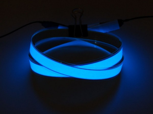 Blue Electroluminescent (EL) Tape Strip - 100cm w/two connectors
