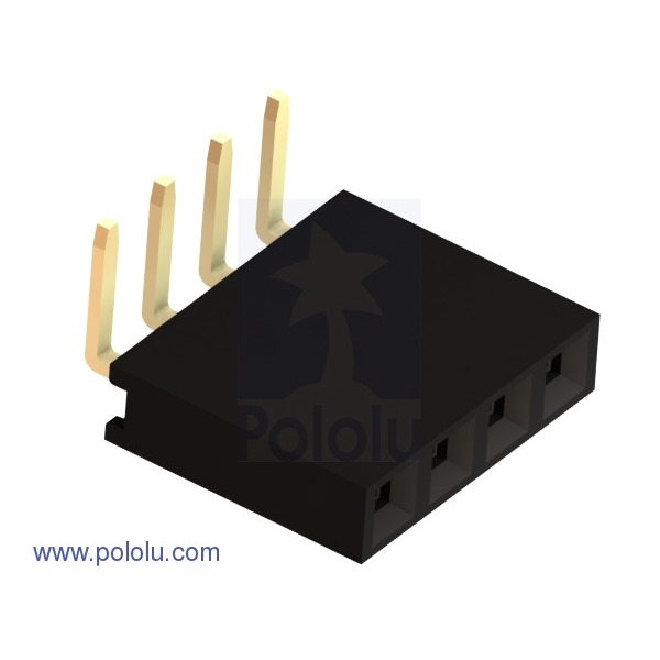 """0.100"""" (2.54 mm) Female Header: 1x4-Pin, Right-Angle (x10)"""