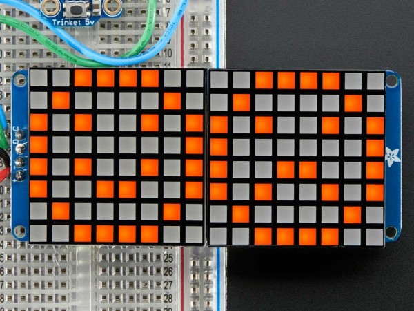 "Adafruit 16x8 1.2"" LED Matrix + Backpack - Ultra Bright Square Amber LEDs"
