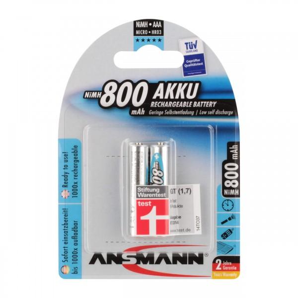 ANSMANN maxE NiMH-Akku, sofort einsatzbereit, Micro (AAA), 800 mAh, VE: 2