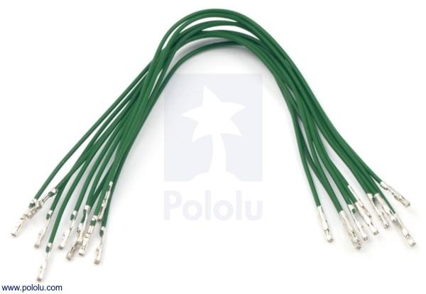 Wires w/ Pre-Crimped Terminals F-F 15cm Green x10