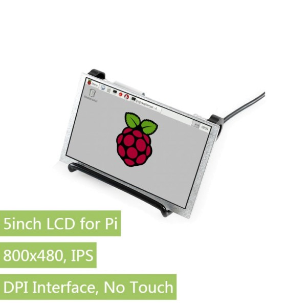 800×480, 5inch IPS Display for Raspberry Pi, DPI interface, no Touch