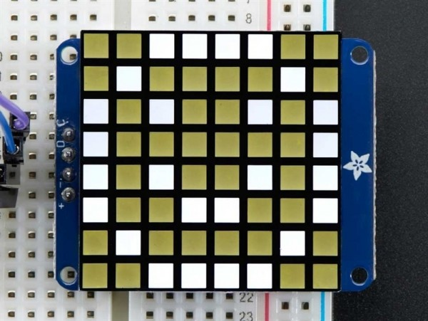 "Adafruit Small 1.2"" 8x8 Ultra Bright Square White LED Matrix + Backpack"