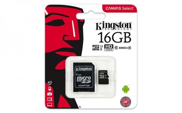 Kingston 16GB Canvas Select SDCS Klasse 10 MicroSD Speicherkarte