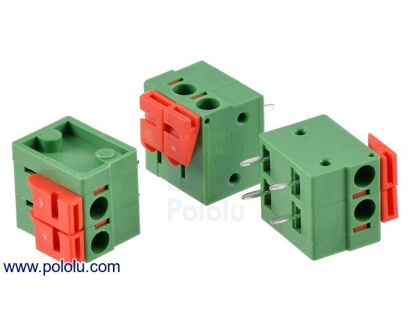 Screwless Terminal Block: 2-Pin, 5.08 mm Pitch, Side Entry (3-Pack)