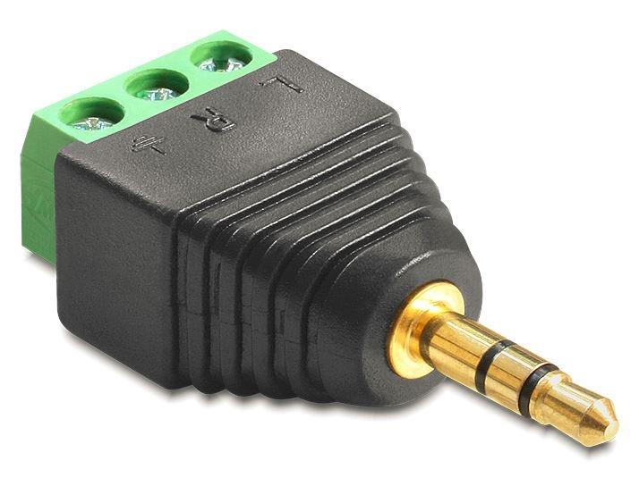 delock adapter klinke stecker 3 5 mm terminalblock 3 pin. Black Bedroom Furniture Sets. Home Design Ideas