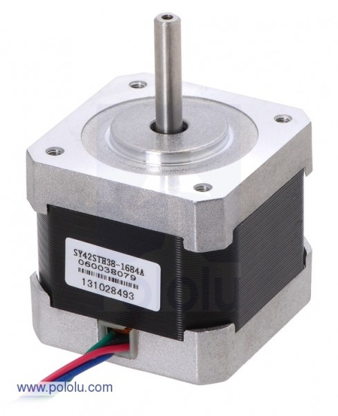 Stepper Motor: Bipolar, 200 Steps/Rev, 42x38mm, 2.8V, 1.7 A/Phase