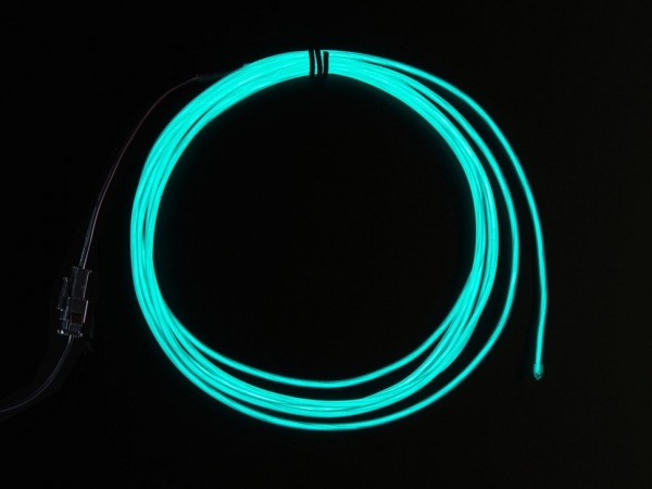 High Brightness Aqua Electroluminescent (EL) Wire - 2.5 meters - High brightness, long life