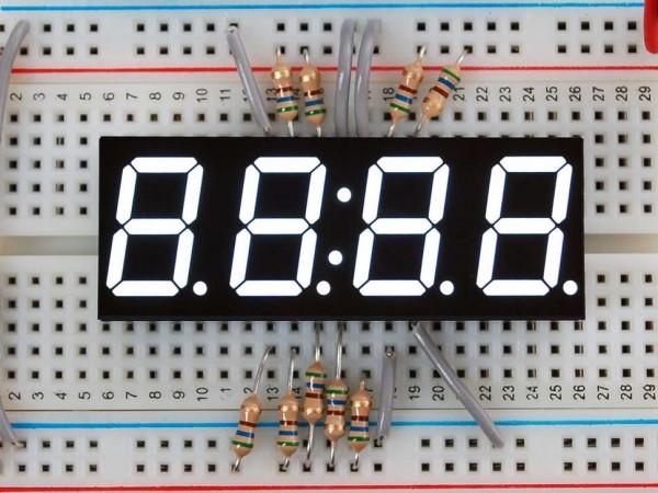 """White 7-segment clock display - 0.56"""" digit height"""
