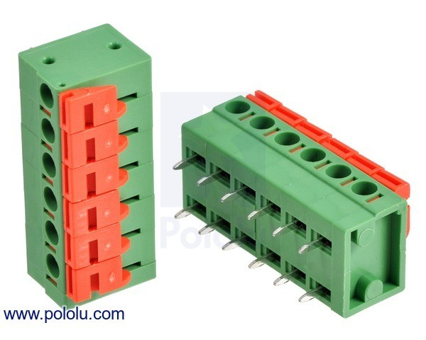 Screwless Terminal Block: 6-Pin, 5.08 mm Pitch, Side Entry (2-Pack)