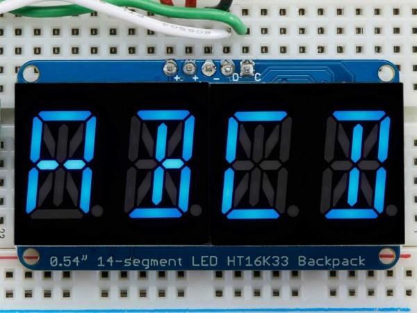 "Adafruit Quad Alphanumeric Display - Blue 0.54"" Digits w/ I2C Backpack"