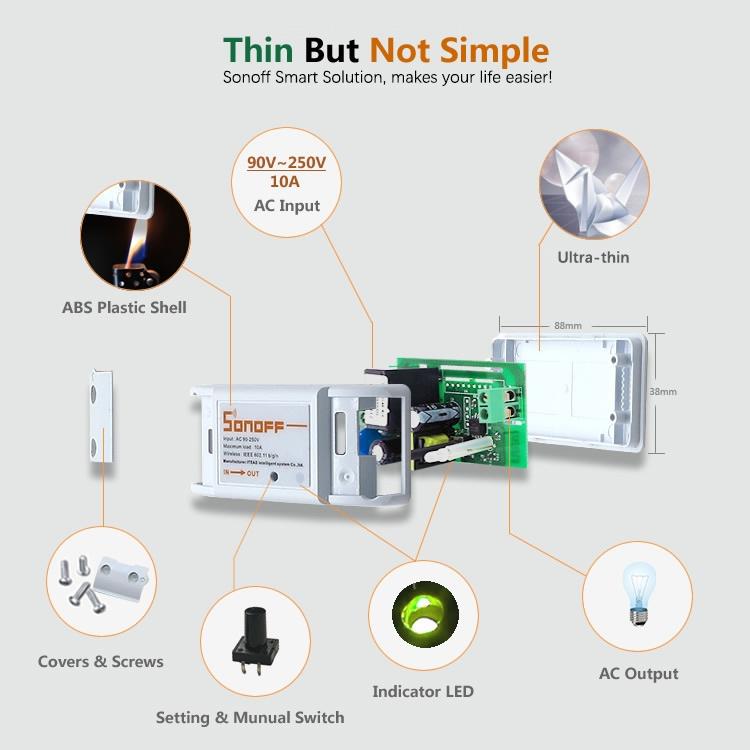 Itead Studio Sonoff - WiFi Wireless Smart Switch für MQTT COAP Smart Home