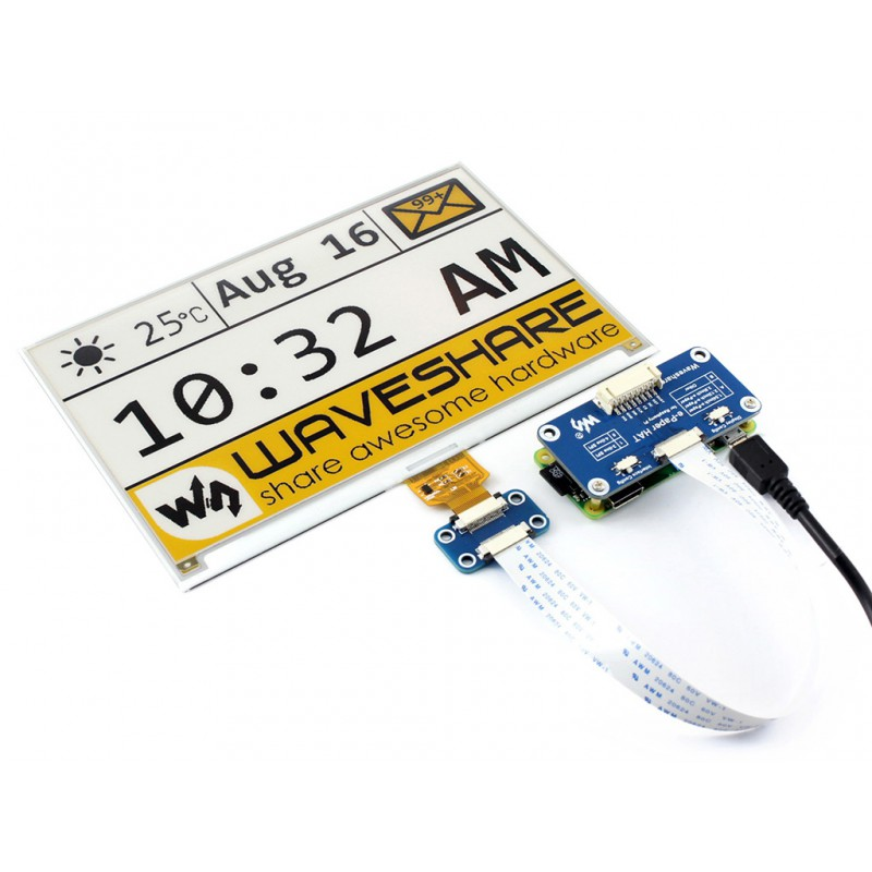 Waveshare 7 5 Inch 3-color E-Ink Display HAT for Raspberry Pi  (yellow/black/white)