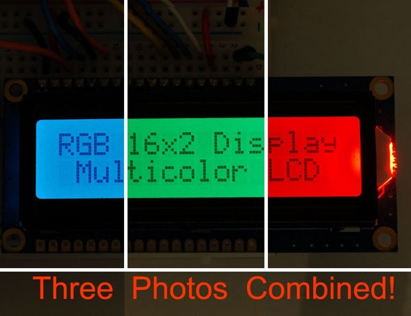RGB backlight positive LCD 16x2 + extras - RGB on black