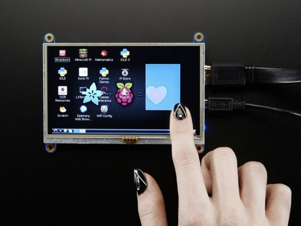 "Adafruit HDMI 5"" 800x480 Display Backpack - With Touchscreen"