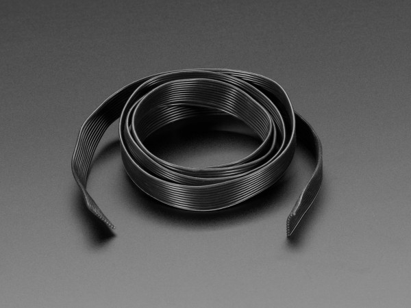 Silicone Cover Stranded-Core Ribbon Cable - 10 Wires 1 Meter Long - 28AWG Black