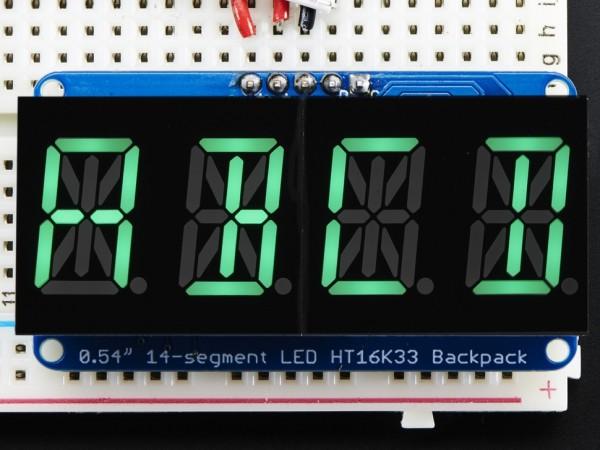 "Adafruit Quad Alphanumeric Display - Pure Green 0.54"" Digits w/ Backpack"