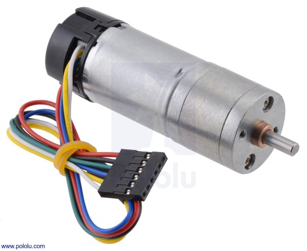 9.7:1 Metal Gearmotor 25Dx63L mm HP 6V with 48 CPR Encoder