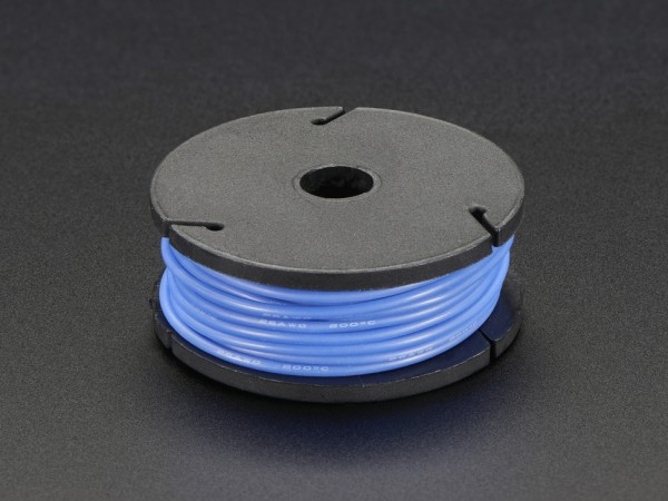 Silicone Cover Stranded-Core Wire - 25ft 7.62m 26AWG - Blue