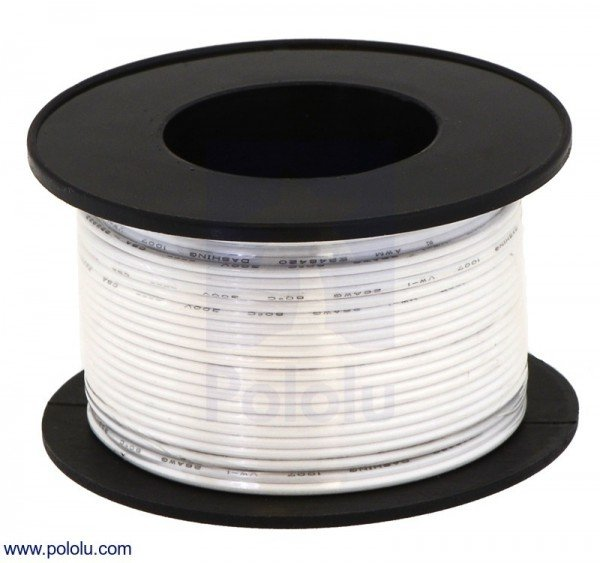 Stranded Wire: White, 26 AWG, 21m