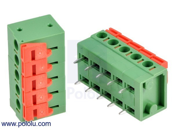 Screwless Terminal Block: 5-Pin, 5.08 mm Pitch, Side Entry (2-Pack)