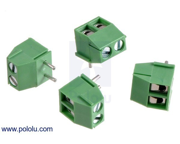 Screw Terminal Block: 2-Pin, 3.5 mm Pitch, Top Entry (4-Pack)